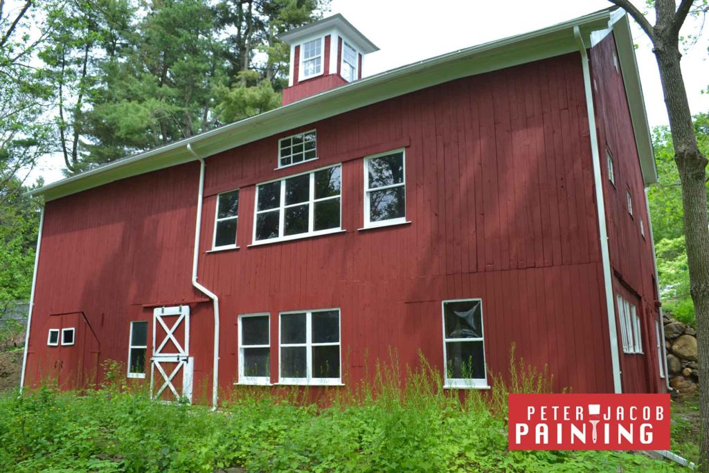 Barn wood repair in Red Hook NY Painted in Red